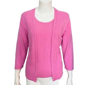 SAG HARBOR | Women's Petite Large Sweater Cardigan